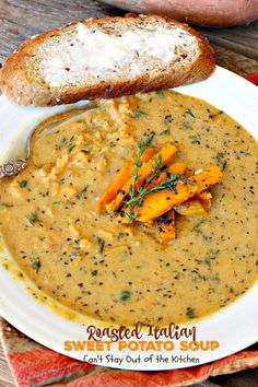 Roasted Italian Sweet Potato Soup roasts sweet potatoes for superior flavor. Adds lots of Italian herbs. Gluten free, vegan, clean eating.
