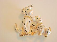 Vintage Enamel Dalmatian Dog & Puppy Brooch Green Eyes by joysshop, $11.95