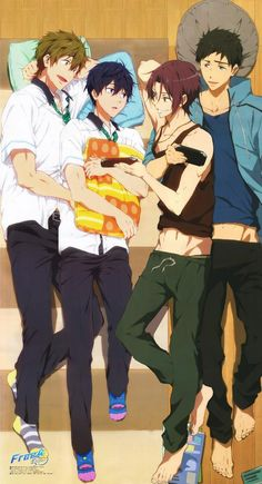 This is official art?! Sousuke, Rin, Haru, and Makoto; Free! Eternal Summer.