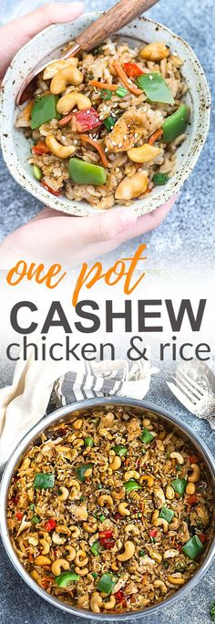 One Pot Cashew Chicken with Rice and Vegetables is the perfect easy weeknight meal. Best of all, everything cooks up in just ONE pan {plus bonus Instant Pot pressure cooker instructions} and has all the flavors of your favorite Chinese takeout restaurant dish. A great Sunday meal prep recipe for your work or school lunchbox or lunch bowl and way better than takeout!