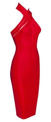 Eileen Red Halter Bandage Dress – BWCLOSET