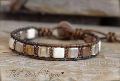 Tile Bracelet Tile Wrap Bracelet Beaded Leather Wrap