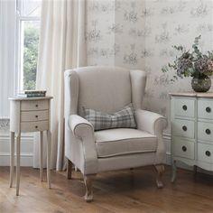Lenora Wing Back Armchair, Linen