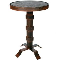 Lincoln Iron Accent Table With Hammered Copper Top