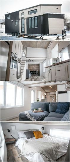 The Ebene is a great tiny house built by Minimaliste in Quebec. The house has a total of between the main level and two lofts. The living room can be converted into a dining room for six people. A pop-out sits over the tongue of the trail Tyni House, Tiny House Cabin, Tiny House Plans, Tiny House On Wheels, Tiny Living Rooms, Tiny House Living, Home Living Room, Small Room Design, Tiny House Design