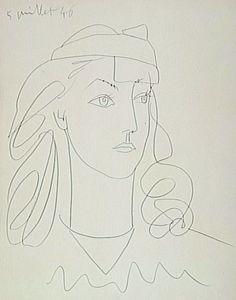 'francoise au bandeau' 1946 by Pablo Picasso Pablo Picasso Drawings, Kunst Picasso, Art Picasso, Art Drawings, Henri Matisse, Art And Illustration, Pablo Picasso Zeichnungen, Artist Sketchbook, Art Moderne