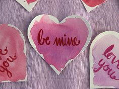 DIY Watercolor Valentine's Day Love Notes >> http://blog.diynetwork.com/maderemade/how-to/diy-watercolor-valentines-love-notes/?soc=pinterest