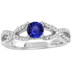 925 Sterling Silver Ring Natural Tanzanite Faceted Cut 5mm Round with Beautiful White Topaz Round - Natural Tanznaite Ring