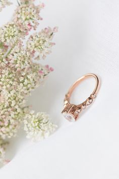 Rose gold diamond oval cut ring by Marion Rehwinkel Jewellery. Oval Diamond, Rose Gold, Stud Earrings, Engagement Rings, Jewellery, Floral, Accessories, Enagement Rings, Wedding Rings