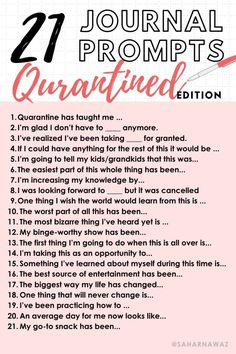 21 Journal Prompts -Quarantined Edition - - This is definitely an experience like none other. Personally, I like documenting everything and what better way to do so than through journalling. Here are 21 prompts to give you a topic for the ne….