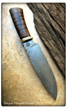 Wayne Morgan Knives, Steel K460, Guard and pommel bronze, Handle Black Chacate with African black wood bands.