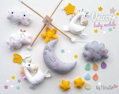 Unicornio mágico bebé móvil. Móvil de cuna de cuna. Móvil Luna