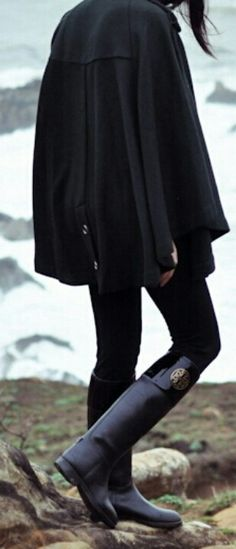 Tory Burch boots & black cape style coat