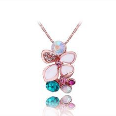 Rose Plated Rainbow Jewels Orchid Necklace, Women's