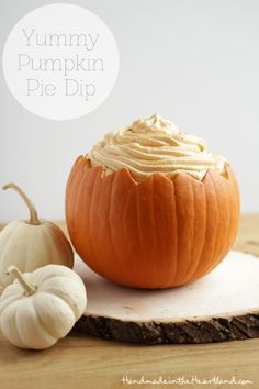 Yummy Pumpkin PIe Dip, this simple dip is delicious and perfect for fall parties.  Hollow out a pumpkin to serve it in and you've got the perfect party display! HandmadeintheHeartland.com