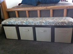 Easy Storage Bench made from milk crates zip tied together :)