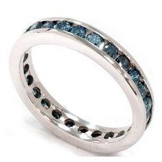 blue diamond eternity ring channel set wedding band