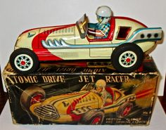 """Vintage 8.5"""" Friction ATOMIC DRIVE JET RACER-by AAA, Japan nm/m-iob #AAA"""