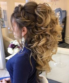 Half Up Long Curly Wedding Hairstyles 2017