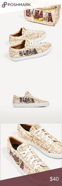 Zara Women's Sneakers With Sequence Patch Detail New with tags. These sneakers are super cute and fashionable you can wear them with a casual dress or jumpsuit! Zara Shoes Sneakers