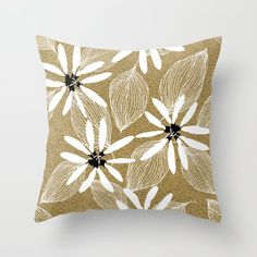 Large White Forest Flowers and Leaves on Beige Sand Throw Pillow by pivivikstrm Couch Pillows, Down Pillows, Floor Pillows, Forest Flowers, Pillow Sale, Designer Throw Pillows, Large White, Pillow Design, Home Buying