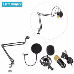 LETSBAY LS-800 Studio Broadcasting Recording Condenser Microphone w/ Adjustable Suspension Scissor Arm Stand Mounting Clamp Kit #Affiliate