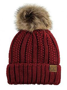 C Thick Cable Knit Faux Fuzzy Fur Pom Fleece Lined Skull Cap Cuff Beanie Product Description C.C Thick Cable Knit Faux Fuzzy Fur Pom Fleece Lined Skull Cap Cuff Beanie Faux fur top pom Cuff with full cover of ears Inner fle. Cute Beanies, Cute Hats, Knit Beanie, Beanie Hats, Women's Hats, Snapback Hats, Knit Mittens, Knitted Gloves, Tween Girl Gifts