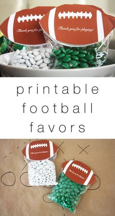 Diy free printable football party favors such a cute superbowl party id Football Party Favors, Football Centerpieces, Nfl Party, Football Snacks, Football Themes, College Football, Flag Football Party, Kids Football Parties, Football Wedding