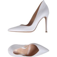 Gianvito Rossi Pump ($458) ❤ liked on Polyvore featuring shoes, pumps, heels, white, leather sole shoes, white shoes, white heel pumps, gianvito rossi and spiked heel shoes
