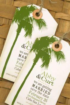 Destination Luggage Tag Magnets - Palm Tree Save the Dates - Design Fee. $10.00, via Etsy.