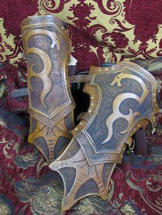 "Leather Bracers ""Dragon Hammer"" Skyrim Inspired Gauntlets"