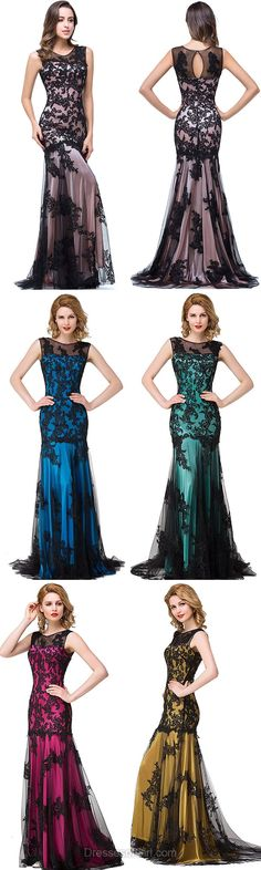 Trumpet/Mermaid Scoop Neck Tulle Sweep Train with Appliques Lace Prom Dresses