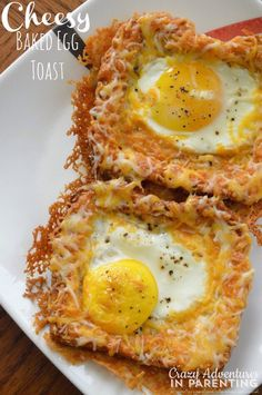 "Combining her love for cheesy eggs with eggs ""over easy,"" try this delicious Cheesy Baked Egg Toast for breakfast. over easy Cheesy Baked Egg Toast Breakfast Dishes, Breakfast Time, Breakfast Casserole, Breakfast Toast, Breakfast Egg Recipes, Breakfast Ideas With Eggs, Brunch Egg Dishes, Healthy Egg Breakfast, Mexican Breakfast"