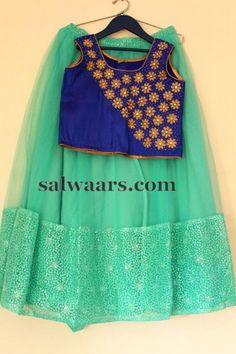Sea Green Blue Lehenga - Indian Dresses