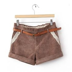 Elegant Lace Splicing Corduroy Women's Shorts(With Belt) ❤ liked on Polyvore