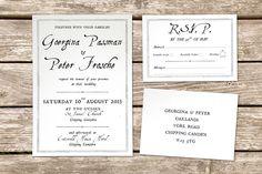 Vintage title page wedding invitation