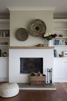 white fireplace with wood mantle - white fireplace . white fireplace with wood mantle . Stucco Fireplace, Simple Fireplace, Home Fireplace, Fireplace Remodel, Fireplace Surrounds, Fireplace Design, Minimalist Fireplace, Fireplace Makeovers, Concrete Fireplace