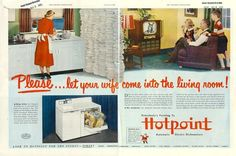 Hotpoint Dishwasher - 13 Incredibly Sexist Ads from the Fifties - Purple Clover Old Advertisements, Retro Advertising, Retro Ads, Vintage Ads, Vintage Posters, Vintage Stuff, Funny Vintage, Creative Advertising, Vintage Ephemera