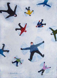 Snow Art Print featuring the painting Snow Angels by Lauren Everett Finn Engel Illustration, Abstract Illustration, Illustration Inspiration, Winter Illustration, Christmas Illustration Design, Painting Snow, Snow Art, Snow Angels, Angel Art