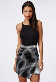 $40, Black and White Check Skater Skirt: Missguided Contrast Check Asymmetric Skirt Black. Sold by Missguided. Click for more info: https://lookastic.com/women/shop_items/157944/redirect