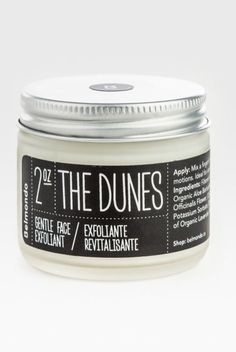 The Dunes Gentle Almond Oil Face Scrub, $35; belmondo.ca This cleanser is inspired by the way that sand exfoliates our skin during a wind-swept day at the beach, using jojoba beads to slough away dead skin. The cool, minimalist packaging is just a bonus.