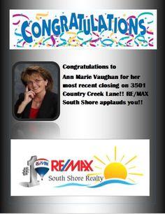 Congrats Ann Marie Vaughan!