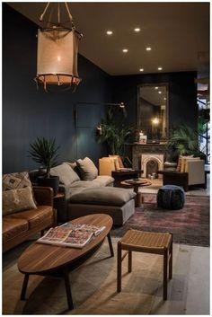 Dark Living Rooms, Home Living Room, Apartment Living, Living Room Designs, Living Room Decor, Modern Living, Small Living, Minimalist Living, Cozy Living