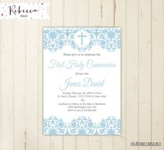 boy first communion invitation first communion invite holy communion invitation boy comunion invitation baptism invitation printable by RebeccaDesigns22