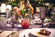 A tablescape with French cuisine set a garden chic tone for the evening.