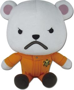"""One of Law's well known crew mates is Bepo, he's an angry yet adorable 7"""" plush, in a cute sitting pose, and comes from the famous anime of One Piece. Add Bepo to your crew with this cuddly polar bear plush."""