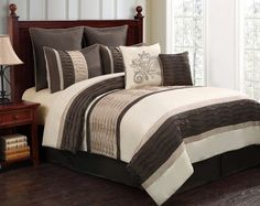 12pc WIND. Chocolate/Ivory/Beige Luxury Size: King Sheet Set Color: Lavender