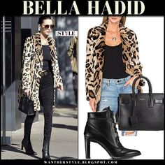Bella Hadid in leopard print coat, black jeans and black ankle boots