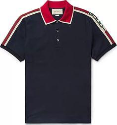 Gucci Webbing-Trimmed Stretch-Cotton Piqué Polo Shirt - Gucci Shirt - Trending Gucci Shirt for sales. Gucci Polo Shirt, Polo Rugby Shirt, Mens Polo T Shirts, Gucci Shirts, Camisa Polo, Polo T Shirt Design, Mens Designer Polo Shirts, Gucci Men, Men's T Shirts