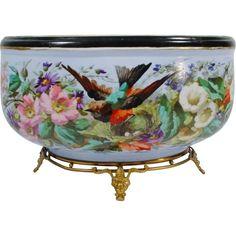 "Exquisite MASSIVE  15"" French Porcelain Jardinière' "" Stunning Gilt Bronze Footed Base"""